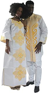 Bazin Riche Clothing, African Traditional Costume Embroidery Patterns Loose Sleeves Dashiki Dress