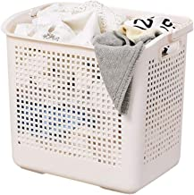 Decdeal Plastic Laundry Basket with Portable Handle Large Capacity Storage Baskets for Kitchen Bathroom Laundry Room Plastic Storage Basket Handle