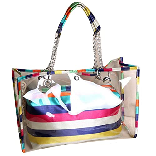 e7c67676 LA HAUTE Women Girls Summer Transparent Jelly Beach Tote Bags Colorful  Stripe PVC Waterproof Swimming Shoulder