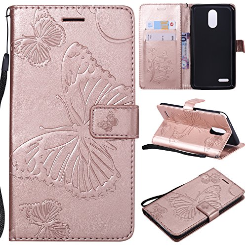 LG Stylo 3 Case,LG Stylo 3 Wallet Case,LG Stylo 3 Plus Case with Card Holders,Folio Flip PU Leather Butterfly Case Cover with Credit Card Slots Kickstand Phone Case for LG Stylus 3 Plus,Rose Gold