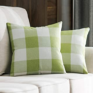 MIULEE Pack of 2 Decorative Classic Retro Checkers Plaids Throw Pillow Covers Cotton Linen Soft Soild Pillow Case Green Cushion Case for Sofa Bedroom Car 18 x 18 Inch 45 x 45 cm