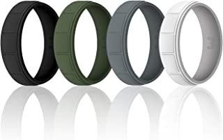 Mens Silicone Wedding Ring& Wedding Bands Skin Safe for Active Athletes, Workout, Military Width 8mm