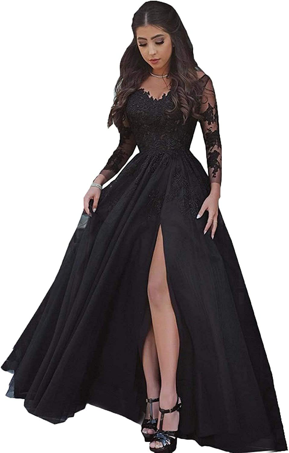 LastBridal Women Lace s Long Sleeves Prom Dress High Slit Evening Gowns Lb0076