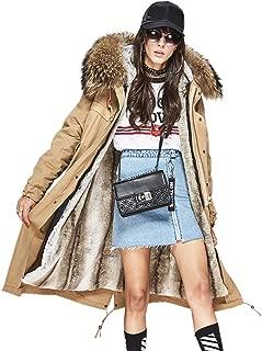 Melody Women's Detachable Raccoon Fur Collar Hooded Coat Faux Fur Lining Maxi Jacket Winter Long Parka