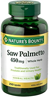 Nature`s Bounty Saw Palmetto 450 mg Capsules 250 ea (Pack of 3)