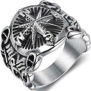 خاتم كوكتيل ريترو فينتاج من الفولاذ المقاوم للصدأ بوصلة قراصنة البحارة راكب الدراجة