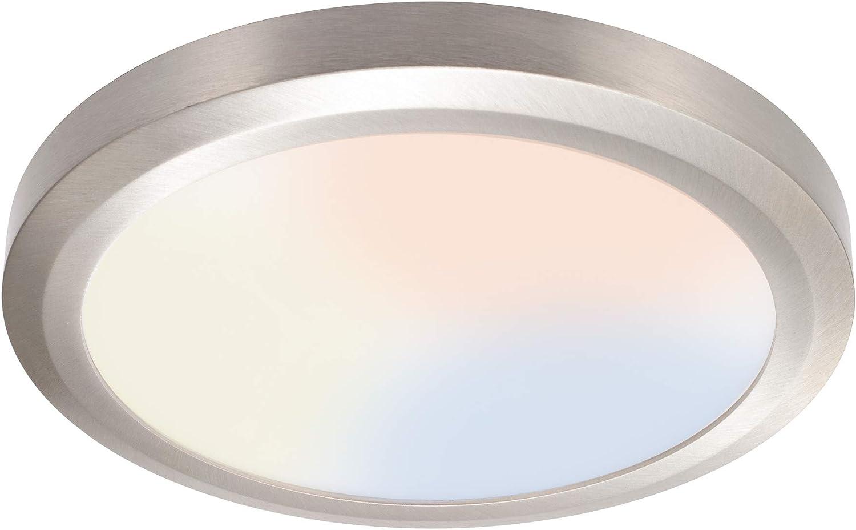 LIT-PaTH LED Flush Mount Ceiling Light Fixture, 3000/4000K/5000K Switch, CRI90+, Dimmable 11 Inch Slim Edge Light, 12.5W 875 Lumen, Aluminum Housing, 1-Pack (Nickel Finish)