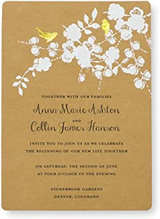 Gold Foil Birds Kraft Print at Home Wedding Invitation Kit