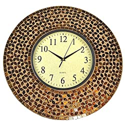 Lulu Decor, 19 Amber Flower Mosaic Wall Clock Coffee Cement, 4.50 Mosaic Border, Brown Glass Dial 9.5 for Living Room & Office Space (LP74)