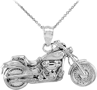 925 Sterling Silver High Polish Biker Charm Motorcycle Pendant Necklace