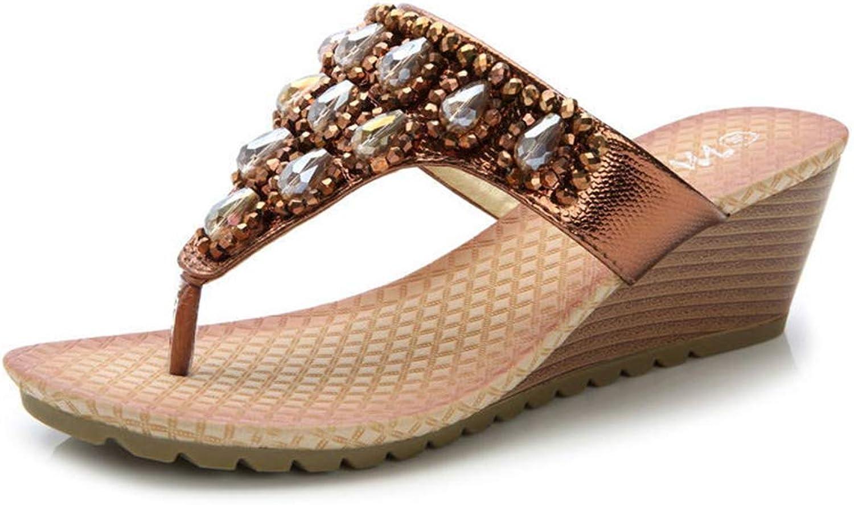QAZ Damen Sandalen, Strass Wedges Strandsandalen Perlen Offene Zehen Rutschfeste Atmungsaktive Futter Damen High Heel Sandalen