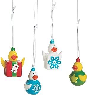 Fun Express - Christmas Rubber Ducks in Ornaments for Christmas - Toys - Character Toys - Rubber Duckies - Christmas - 12 Pieces