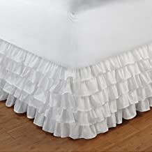 Relaxare King 300TC 100% Egyptian Cotton White Solid 1PCs Multi Ruffle Bedskirt Solid (Drop Length: 23 inches) - Ultra Soft Breathable Premium Fabric