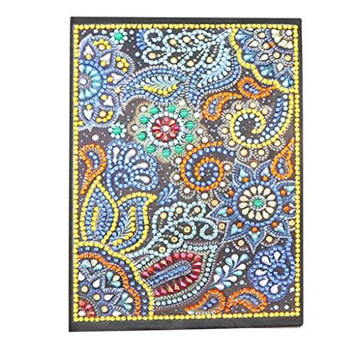 Cuaderno de mandala 5D con pintura de diamantes blanco A5, cuaderno A5 tapa dura libro de notas, diario secreto para niños, bloc de notas pequeño con diamantes coloridos para oficina o hogar mandala