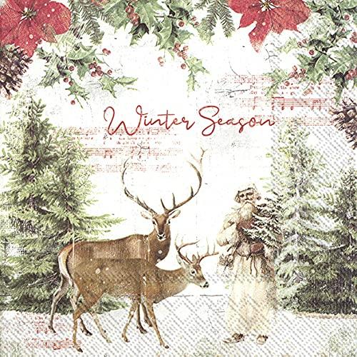 20 servilletas para el comienzo del invierno | nostalgia | vintage | invierno | Navidad | decoración de mesa 33 x 33 cm