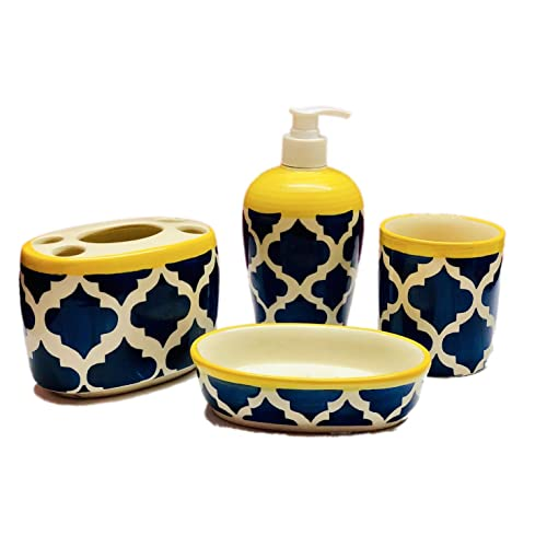 HS HINDUSTANI SAUDAGAR Ceramic/Stoneware Combo of Soap Dispenser, Tooth Brush Holder, Tumbler and Dish (Blue and Yellow)