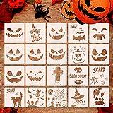 Halloween Malerei Schablonen, 20 Stück DIY wiederverwendbare Kürbis Airbrush Ausdruck Vorlagen für DIY Karte, Handwerk Kunst Zeichnung Malerei Sprühen, Fenster, Holz, Keks und Papier, Stoff, Glas,