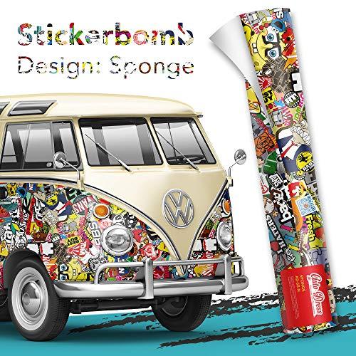 30x150cm - Stickerbomb Auto Folie Glänzend - Sticker Logo Bomb - JDM Aufkleber - Design: Sponge