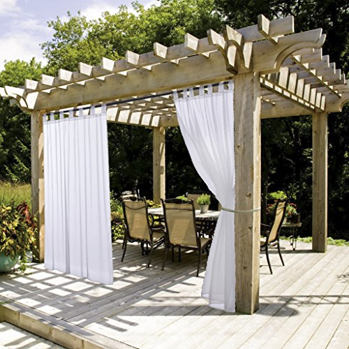 NICETOWN White Sheer Outdoor Curtain Panel Elegant Tab Top Waterproof Curtain for Porch with Rope Tieback (Single Panel, 54 Inch by 84 Inch, White)