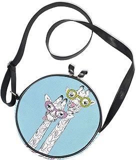 Ahomy Damen-Umhängetasche, rund, Giraffen in Funky Brille, Handy, Mini-Umhängetasche, Geldbörse