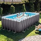 QAQQQ Oversized Piscina Fuori Terra Piscina di Famiglia per Bambini Piscina Rettangolo Staffa Pool Grey-732×366×132CM