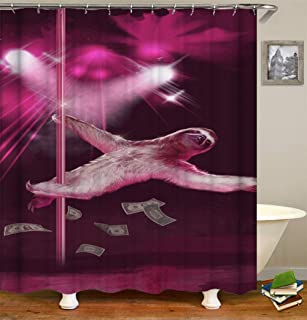 GLW Sloth Under Stage Lighting is Dancing Pole Dance Polyester Waterproof Bathroom Keep Out Light Shower Curtain Cloth Fabric Bathroom Indoor Shower Curtains Decor/12 Hooks 72