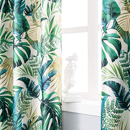 SNLARFOX Leaf Room Darkening Curtains 108 inches Long, Green Tropical Palm Leaves Print Polyester Blackout Curtain 2 Panel Set Grommet for Living Room Bedroom Window Treatments (52 x 108 Inch, Green)