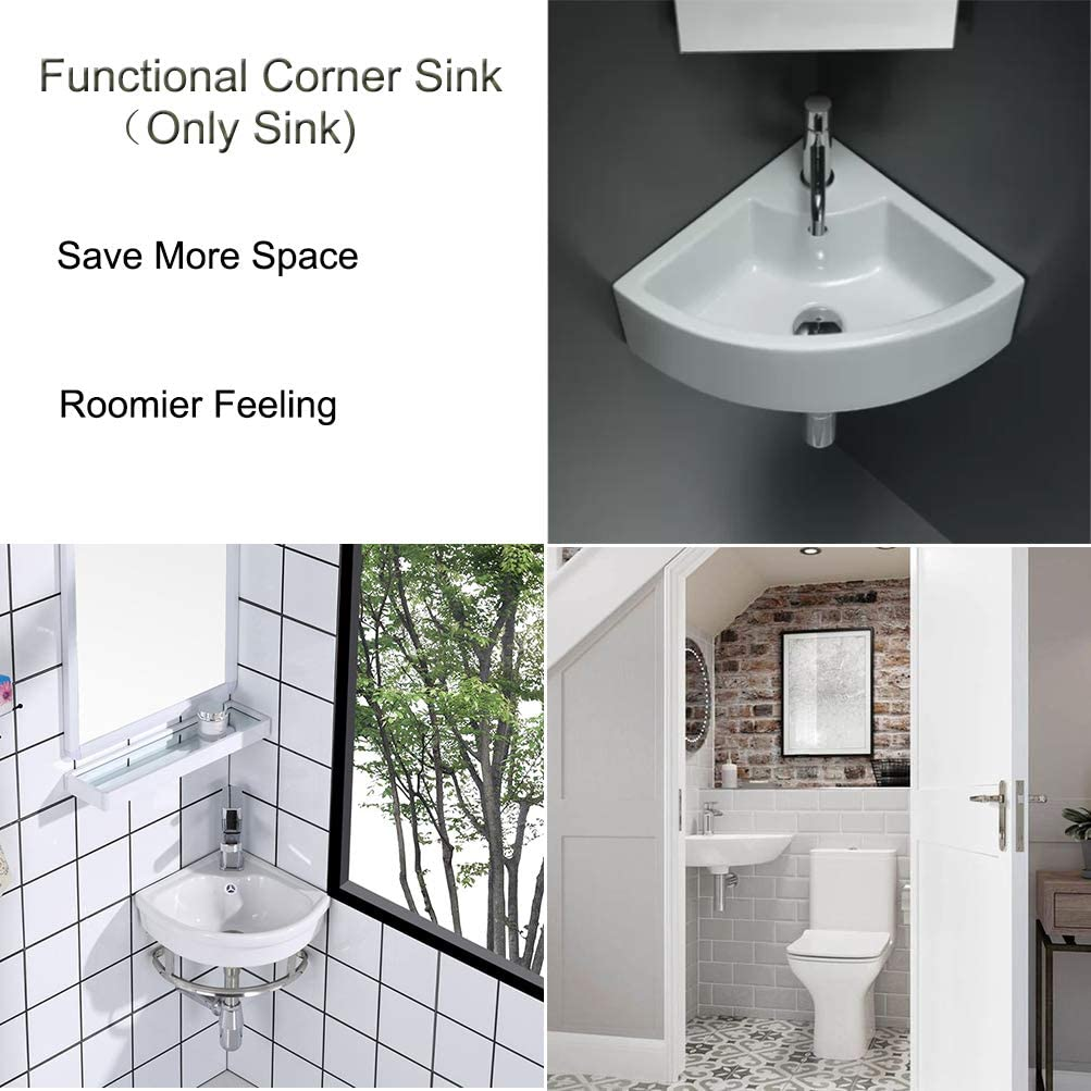 Buy Small Bathroom Vessel Sink Triangle Wall Mount Corner Vanity Ceramic White Porcelain Hanging Art Basin With Oveflow Hole For Modern Lavatory Cloakroom Toilet 1007b Online In Indonesia B07v3wdngl