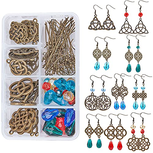 SUNNYCLUE 1 Box DIY 10 Pairs Trinity Celtic Knot Earrings Making Kit Flower of Life Connector Charms Acrylic Beads Jewellery Making Craft for Beginners Women Adults, Antique Bronze