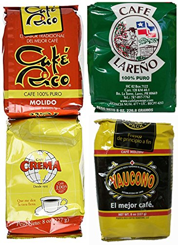 Puerto Rican Ground Coffee Variety Pack - 4 Local Favorites In 8 Ounce Bags Includes 2 Envelopes Of Sason Accent