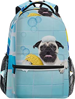 Mochilas Tipo Casual Bathing Pug School Backpack Lightweight Large Capacity Daypack Bookbags Travel Bag for College Student Laptop