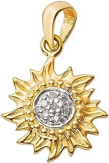 Coquí el Original Mini Sun Solid 14K Gold Pendant with Diamonds in Center