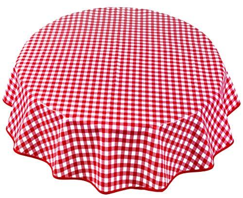 Home Direct Mantel de Hule, Redondo 140 cm Rojo