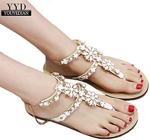 BAITUO BAITUO Chaussures pour Femmes Sandales Plates en Strass Lustrées pour Femmes  meilleure qualité