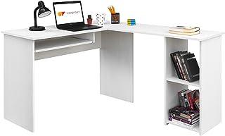 COMIFORT Escritorio Forma L - Mesa de Estudio con Estantería de Estructura Firme, Moderna y Minimalista con 2 Baldas Espaciosas y de Gran Capacidad, Color Nordic