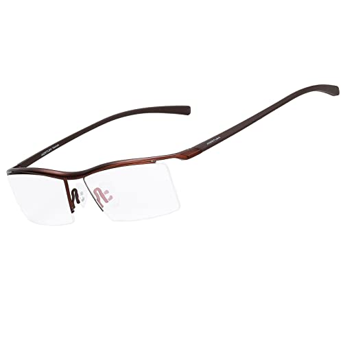 5079dcb06f Agstum Pure Titanium Half Rimless Business Glasses Frame Eyeglasses Clear  Lens