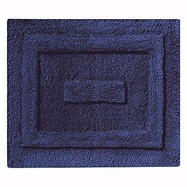InterDesign Spa Microfiber Polyester Non-Slip Bathroom Mat Shower 21  x 17  21 x 17, Accent Rug, Navy