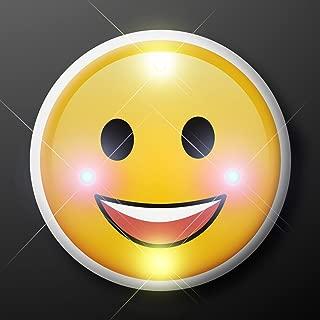 Light Up Smiley Face Flashing Blinking LED Body Light Lapel Pins (25-Pack)