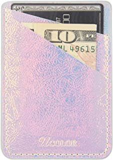 Phone Card Holder Sleeves uCOLOR Iridescent Pink PU Leather Wallet Pocket Credit Card ID Case Holder Pouch 3M Adhesive Sticker on Compatibe with iPhone Samsung Galaxy Android Smartphones