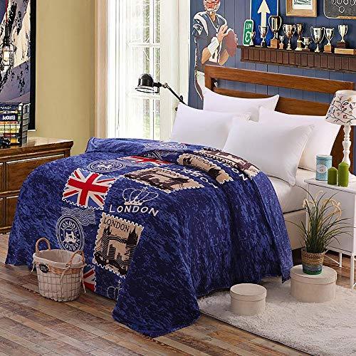 Wuio Deken, flanel, sprei, Nordic stijl, zacht, knuffelig, airconditioning, tweepersoonsbed voor camping in de slaapkamer, Engelse stijl, 150 x 200 cm