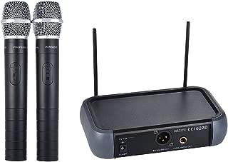 Ammoon Micrófono inalámbrico de doble canal Sistema VHF portátil con función de eco 2 micrófonos y 1 receptor Cable de audio de 6,35 mm para karaoke Presentación de fiestas familiares Discurso público