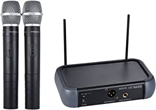 ammoon Micrófono Inalámbrico Sistema Doble Canal VHF de Mano con la Función Echo 2 Micrófonos y 1 Receptor Cable de Audio de 6.35 mm para Karaoke Fiesta Familiar Presentación Dirección Pública