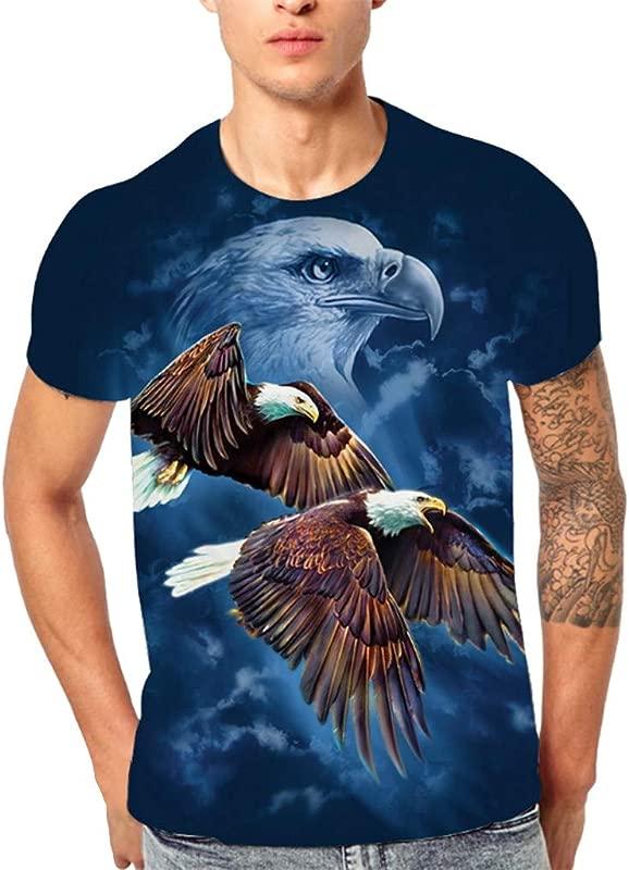 OWMEOT Men Original Animal Printed T Shirt Cool Casual 3D Digital Graphics Tee Tops