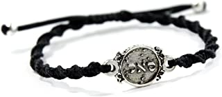 Prosperity Amulet Charm in Sterling Silver on Black Macrame Sturdy Bracelet - Adjustable for Men