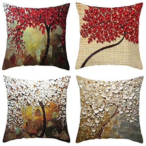 AmDxD Juego de 4 fundas de almohada de poliéster de 45 x 45 cm, diseño de flores, color blanco, rojo y marrón