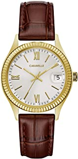 Caravelle Designed by Bulova Women's Stainless Steel Quartz Watch with Leather-Crocodile Strap, Brown, 16 (Model: 44M111)