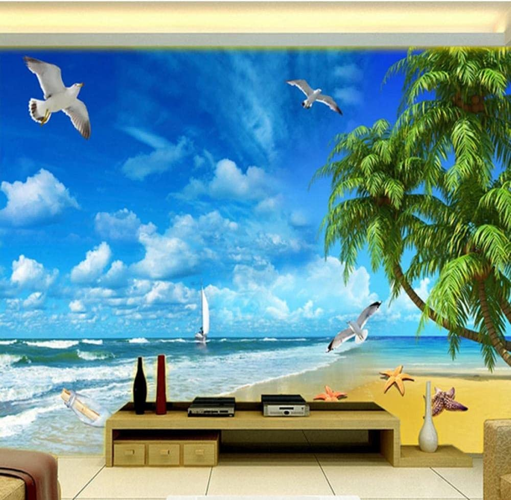 Custom Mural Wall Covering Price reduction Sandy Beach Landscape Living Room Sales results No. 1 3D