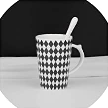 420ml Nordic Classic Collection Simple Geometric Patterns Milk Bone China Mug Coffee Creative Ceramic Cup Spoon Drinkware,B,420ML