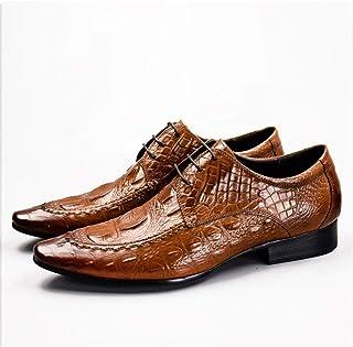 Enjoy4Beauty - Piel de cocodrilo textura zapatos de hombre zapatos puntiagudos zapatos de hombre moda Inglaterra cuero neg...