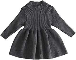 mlpeerw Toddler Baby Girl Knit Dresses Kids Solid Ruffle Long Sleeve One Piece Dress Fall Winter Warm Sweater Outfits